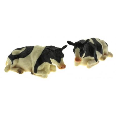 Zwei Rinder schwarz weiß liegend 1:32